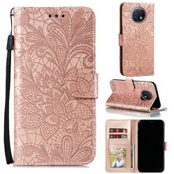 Intricate Embossing Lace Jasmine Flower Leather Wallet Case for Xiaomi Redmi Note 9T - Rose Gold