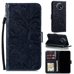 Intricate Embossing Lace Jasmine Flower Leather Wallet Case for Xiaomi Redmi Note 9T - Dark Blue