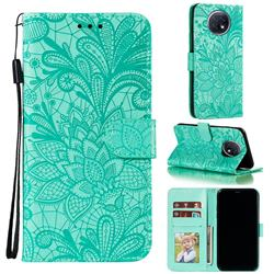 Intricate Embossing Lace Jasmine Flower Leather Wallet Case for Xiaomi Redmi Note 9T - Green
