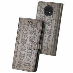 Embossing Dog Paw Kitten and Puppy Leather Wallet Case for Xiaomi Redmi Note 9T - Gray