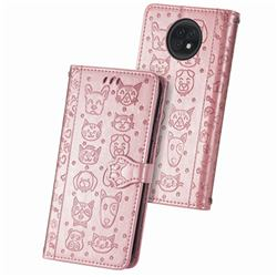 Embossing Dog Paw Kitten and Puppy Leather Wallet Case for Xiaomi Redmi Note 9T - Rose Gold