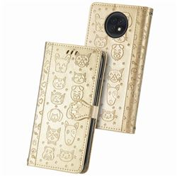Embossing Dog Paw Kitten and Puppy Leather Wallet Case for Xiaomi Redmi Note 9T - Champagne Gold