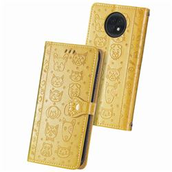 Embossing Dog Paw Kitten and Puppy Leather Wallet Case for Xiaomi Redmi Note 9T - Yellow