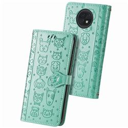 Embossing Dog Paw Kitten and Puppy Leather Wallet Case for Xiaomi Redmi Note 9T - Green