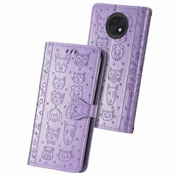 Embossing Dog Paw Kitten and Puppy Leather Wallet Case for Xiaomi Redmi Note 9T - Purple