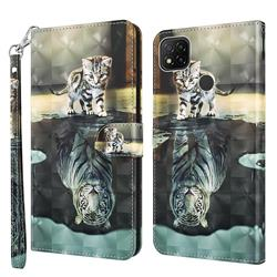 Tiger and Cat 3D Painted Leather Wallet Case for Mi Xiaomi Poco C3