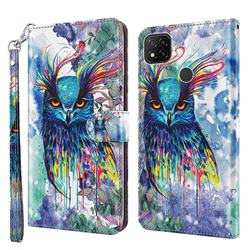 Watercolor Owl 3D Painted Leather Wallet Case for Mi Xiaomi Poco C3