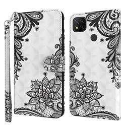 Black Lace Flower 3D Painted Leather Wallet Case for Mi Xiaomi Poco C3