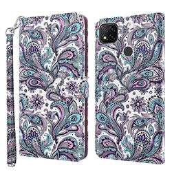 Swirl Flower 3D Painted Leather Wallet Case for Mi Xiaomi Poco C3