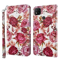 Red Flower 3D Painted Leather Wallet Case for Mi Xiaomi Poco C3