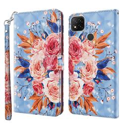 Rose Flower 3D Painted Leather Wallet Case for Mi Xiaomi Poco C3