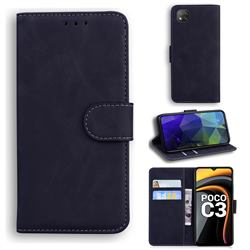 Retro Classic Skin Feel Leather Wallet Phone Case for Mi Xiaomi Poco C3 - Black