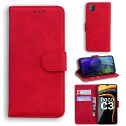 Retro Classic Skin Feel Leather Wallet Phone Case for Mi Xiaomi Poco C3 - Red