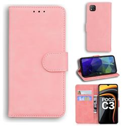 Retro Classic Skin Feel Leather Wallet Phone Case for Mi Xiaomi Poco C3 - Pink