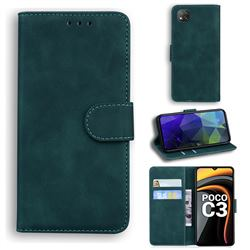 Retro Classic Skin Feel Leather Wallet Phone Case for Mi Xiaomi Poco C3 - Green