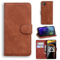 Retro Classic Skin Feel Leather Wallet Phone Case for Mi Xiaomi Poco C3 - Brown