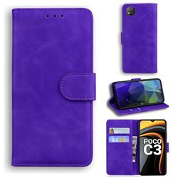 Retro Classic Skin Feel Leather Wallet Phone Case for Mi Xiaomi Poco C3 - Purple
