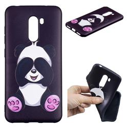 Lovely Panda 3D Embossed Relief Black Soft Back Cover for Mi Xiaomi Pocophone F1