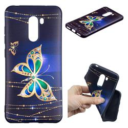 Golden Shining Butterfly 3D Embossed Relief Black Soft Back Cover for Mi Xiaomi Pocophone F1