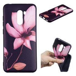 Lotus Flower 3D Embossed Relief Black Soft Back Cover for Mi Xiaomi Pocophone F1