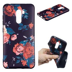 Safflower 3D Embossed Relief Black Soft Back Cover for Mi Xiaomi Pocophone F1