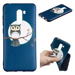 Moon and Owl 3D Embossed Relief Black Soft Back Cover for Mi Xiaomi Pocophone F1