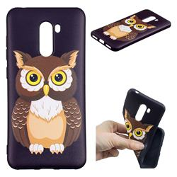 Big Owl 3D Embossed Relief Black Soft Back Cover for Mi Xiaomi Pocophone F1