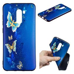 Golden Butterflies 3D Embossed Relief Black Soft Back Cover for Mi Xiaomi Pocophone F1