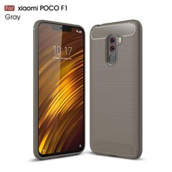 Luxury Carbon Fiber Brushed Wire Drawing Silicone TPU Back Cover for Mi Xiaomi Pocophone F1 - Gray