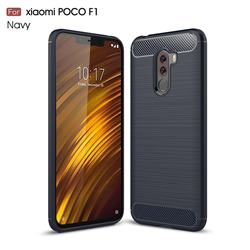 Luxury Carbon Fiber Brushed Wire Drawing Silicone TPU Back Cover for Mi Xiaomi Pocophone F1 - Navy