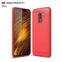 Luxury Carbon Fiber Brushed Wire Drawing Silicone TPU Back Cover for Mi Xiaomi Pocophone F1 - Red