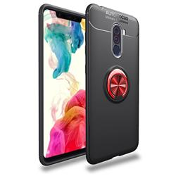 Auto Focus Invisible Ring Holder Soft Phone Case for Mi Xiaomi Pocophone F1 - Black Red