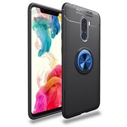 Auto Focus Invisible Ring Holder Soft Phone Case for Mi Xiaomi Pocophone F1 - Black Blue