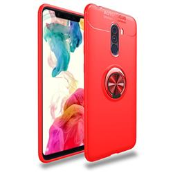 Auto Focus Invisible Ring Holder Soft Phone Case for Mi Xiaomi Pocophone F1 - Red