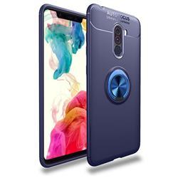 Auto Focus Invisible Ring Holder Soft Phone Case for Mi Xiaomi Pocophone F1 - Blue