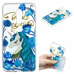 Blue Flower Unicorn Clear Varnish Soft Phone Back Cover for Mi Xiaomi Pocophone F1