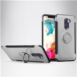 Armor Anti Drop Carbon PC + Silicon Invisible Ring Holder Phone Case for Mi Xiaomi Pocophone F1 - Silver