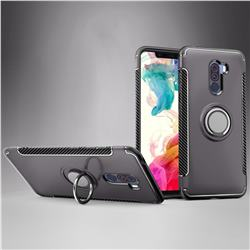 Armor Anti Drop Carbon PC + Silicon Invisible Ring Holder Phone Case for Mi Xiaomi Pocophone F1 - Grey