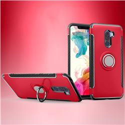 Armor Anti Drop Carbon PC + Silicon Invisible Ring Holder Phone Case for Mi Xiaomi Pocophone F1 - Red