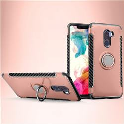 Armor Anti Drop Carbon PC + Silicon Invisible Ring Holder Phone Case for Mi Xiaomi Pocophone F1 - Rose Gold