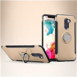 Armor Anti Drop Carbon PC + Silicon Invisible Ring Holder Phone Case for Mi Xiaomi Pocophone F1 - Champagne