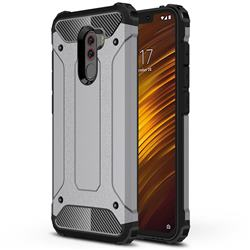 King Kong Armor Premium Shockproof Dual Layer Rugged Hard Cover for Mi Xiaomi Pocophone F1 - Silver Grey