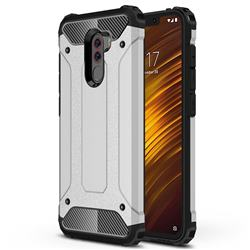 King Kong Armor Premium Shockproof Dual Layer Rugged Hard Cover for Mi Xiaomi Pocophone F1 - Technology Silver