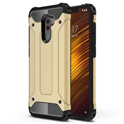 King Kong Armor Premium Shockproof Dual Layer Rugged Hard Cover for Mi Xiaomi Pocophone F1 - Champagne Gold