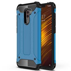King Kong Armor Premium Shockproof Dual Layer Rugged Hard Cover for Mi Xiaomi Pocophone F1 - Sky Blue