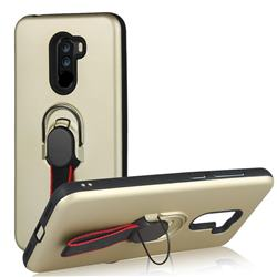 Raytheon Multi-function Ribbon Stand Back Cover for Mi Xiaomi Pocophone F1 - Golden