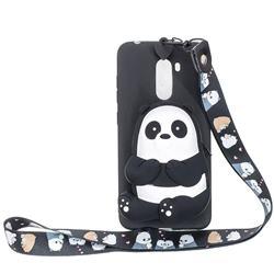 Cute Panda Neck Lanyard Zipper Wallet Silicone Case for Mi Xiaomi Pocophone F1
