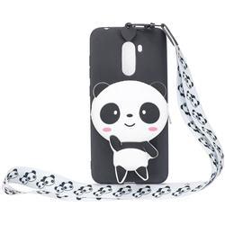 White Panda Neck Lanyard Zipper Wallet Silicone Case for Mi Xiaomi Pocophone F1