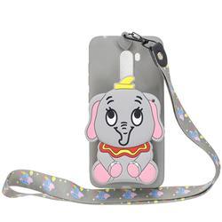 Gray Elephant Neck Lanyard Zipper Wallet Silicone Case for Mi Xiaomi Pocophone F1