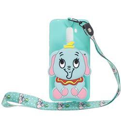 Blue Elephant Neck Lanyard Zipper Wallet Silicone Case for Mi Xiaomi Pocophone F1